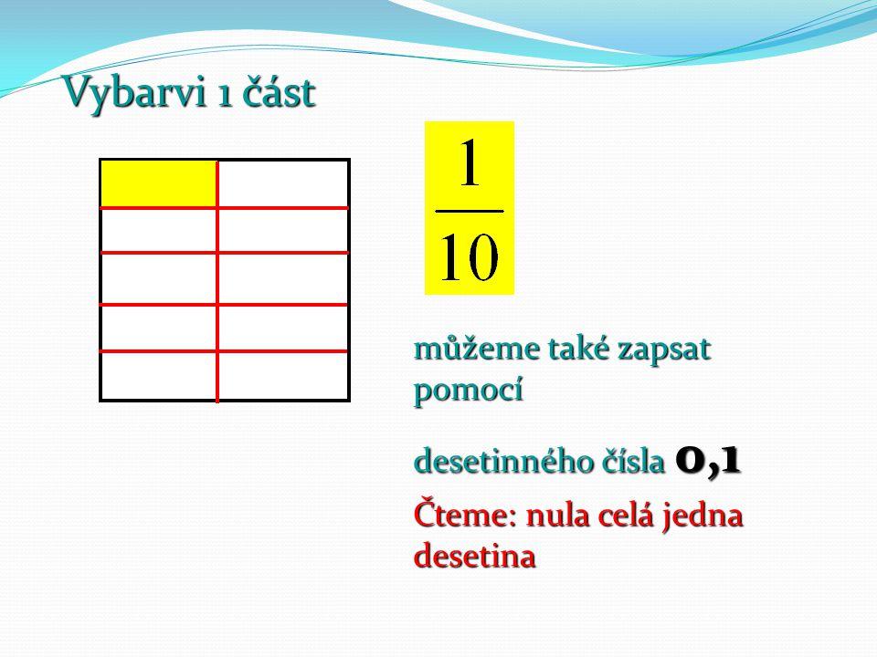 Vybarvi 1 část můžeme také zapsat pomocí desetinného čísla 0,1 Čteme: nula celá jedna desetina