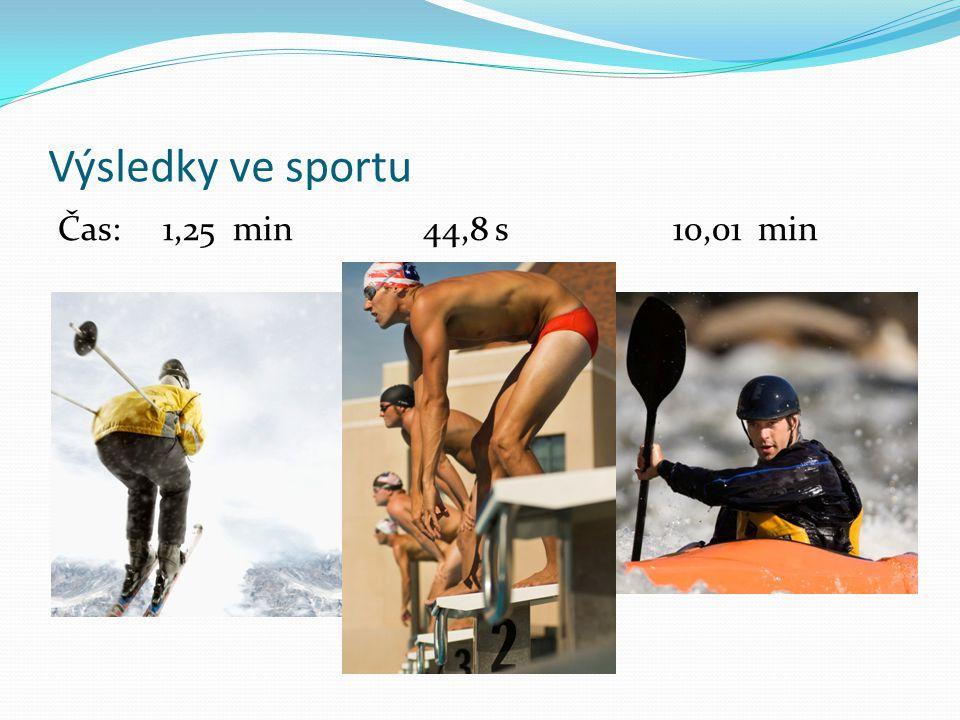 Výsledky ve sportu Čas: 1,25 min 44,8 s 10,01 min