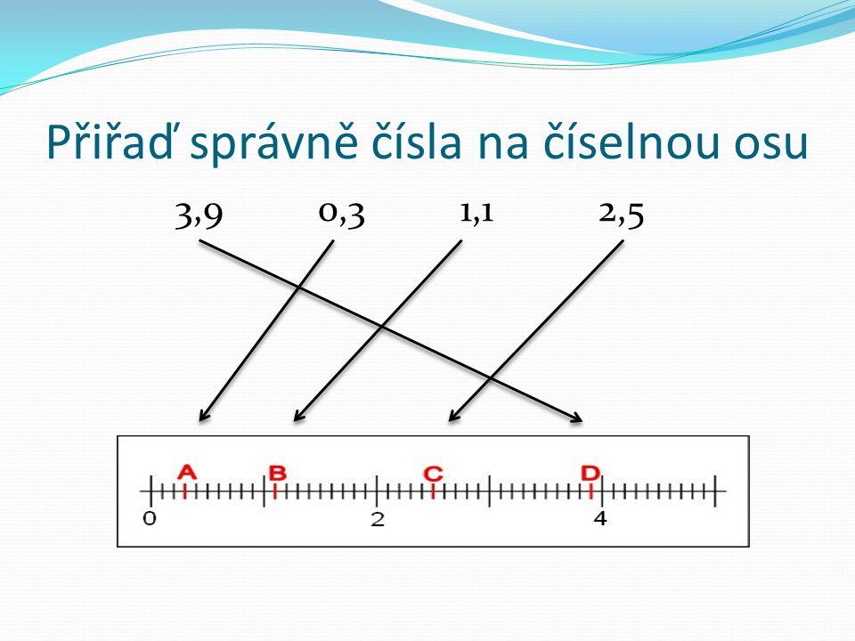 Přiřaď správně čísla na číselnou osu 3,9 0,3 1,1 2,5