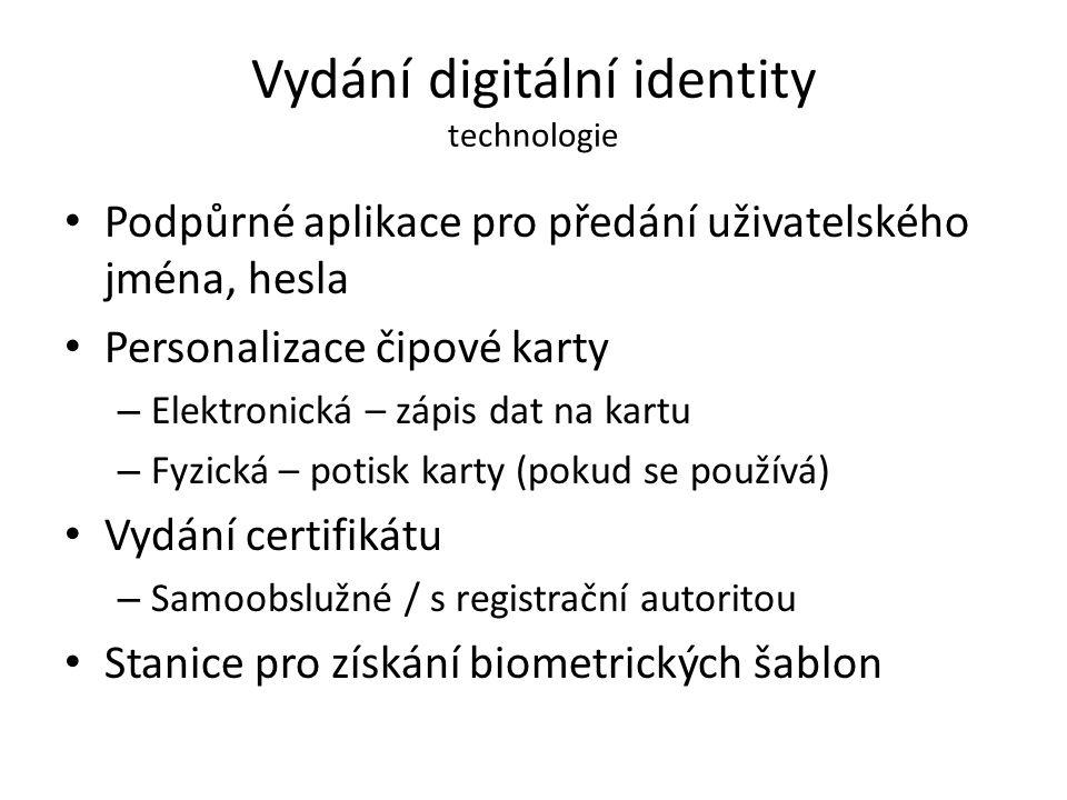 Vydání digitální identity technologie Podpůrné aplikace pro předání uživatelského jména, hesla Personalizace čipové karty – Elektronická – zápis dat n