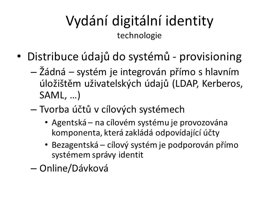 Vydání digitální identity technologie Distribuce údajů do systémů - provisioning – Žádná – systém je integrován přímo s hlavním úložištěm uživatelskýc