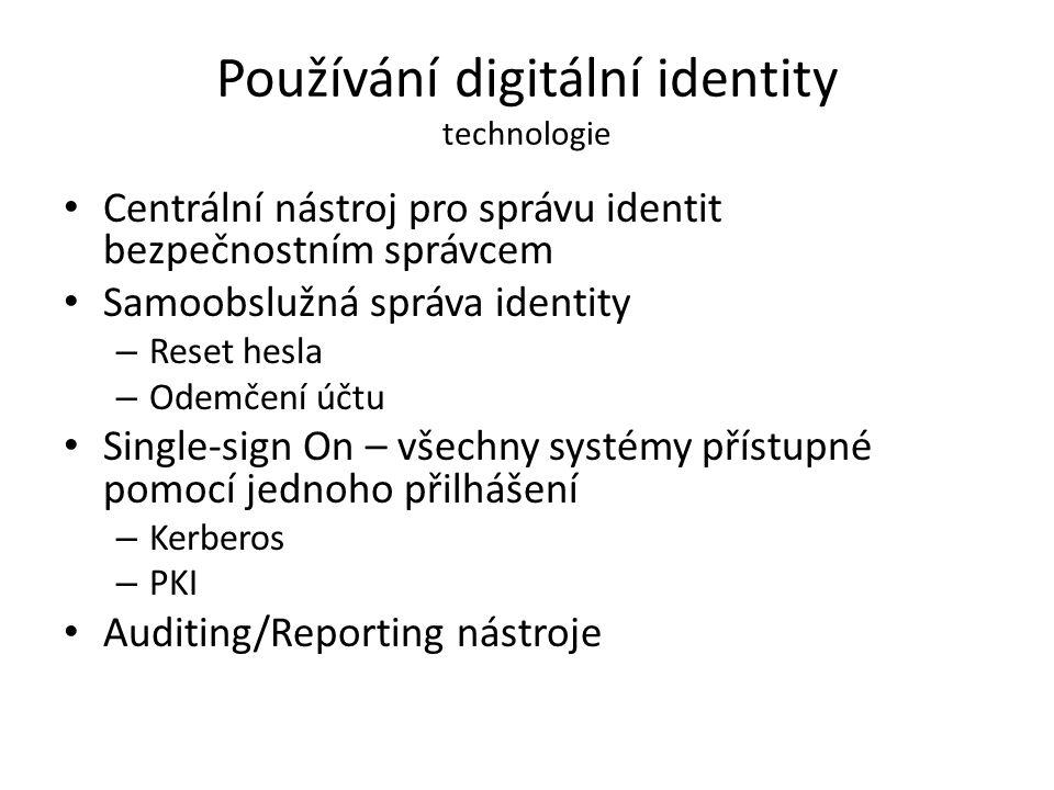 Používání digitální identity technologie Centrální nástroj pro správu identit bezpečnostním správcem Samoobslužná správa identity – Reset hesla – Odem