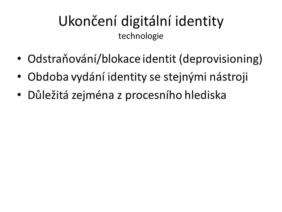 Ukončení digitální identity technologie Odstraňování/blokace identit (deprovisioning) Obdoba vydání identity se stejnými nástroji Důležitá zejména z p