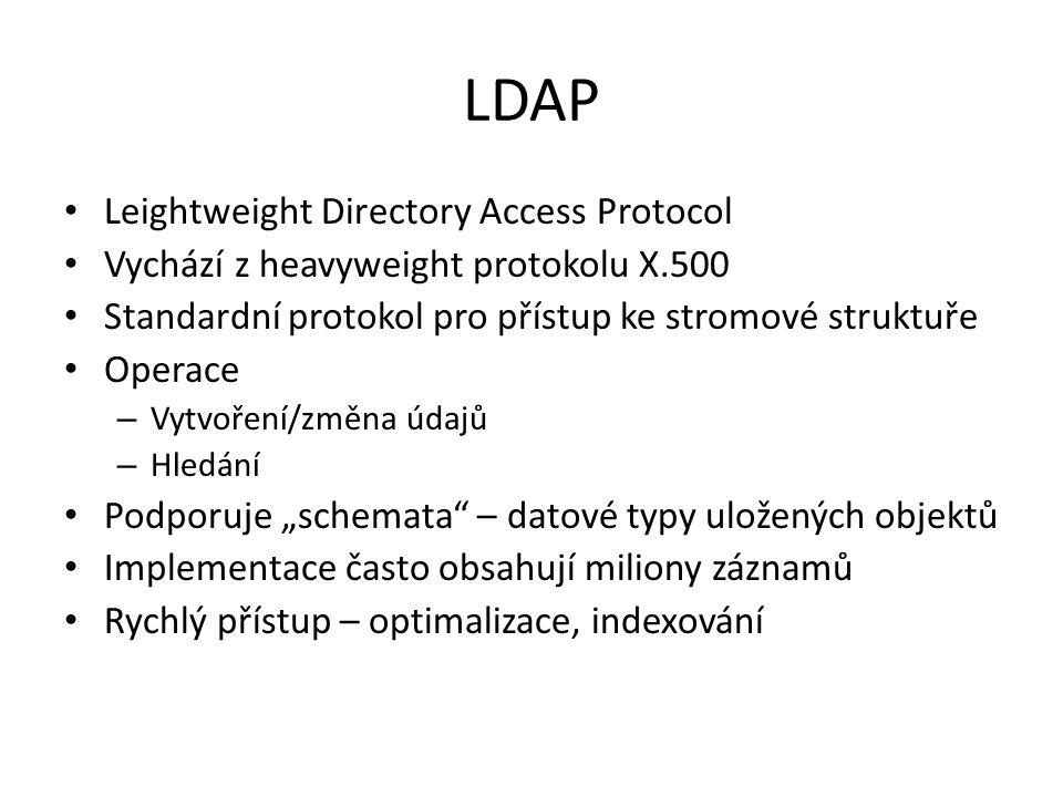 LDAP Leightweight Directory Access Protocol Vychází z heavyweight protokolu X.500 Standardní protokol pro přístup ke stromové struktuře Operace – Vytv