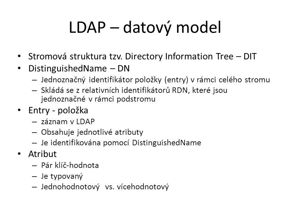LDAP – datový model Stromová struktura tzv. Directory Information Tree – DIT DistinguishedName – DN – Jednoznačný identifikátor položky (entry) v rámc