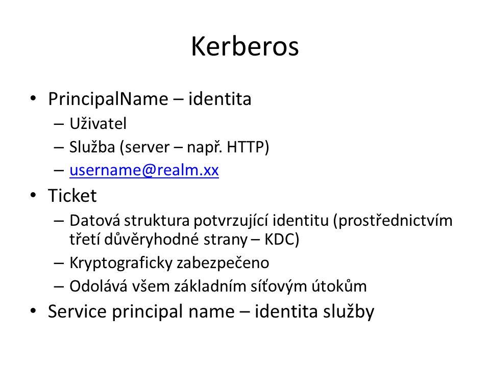 Kerberos PrincipalName – identita – Uživatel – Služba (server – např. HTTP) – username@realm.xx username@realm.xx Ticket – Datová struktura potvrzujíc