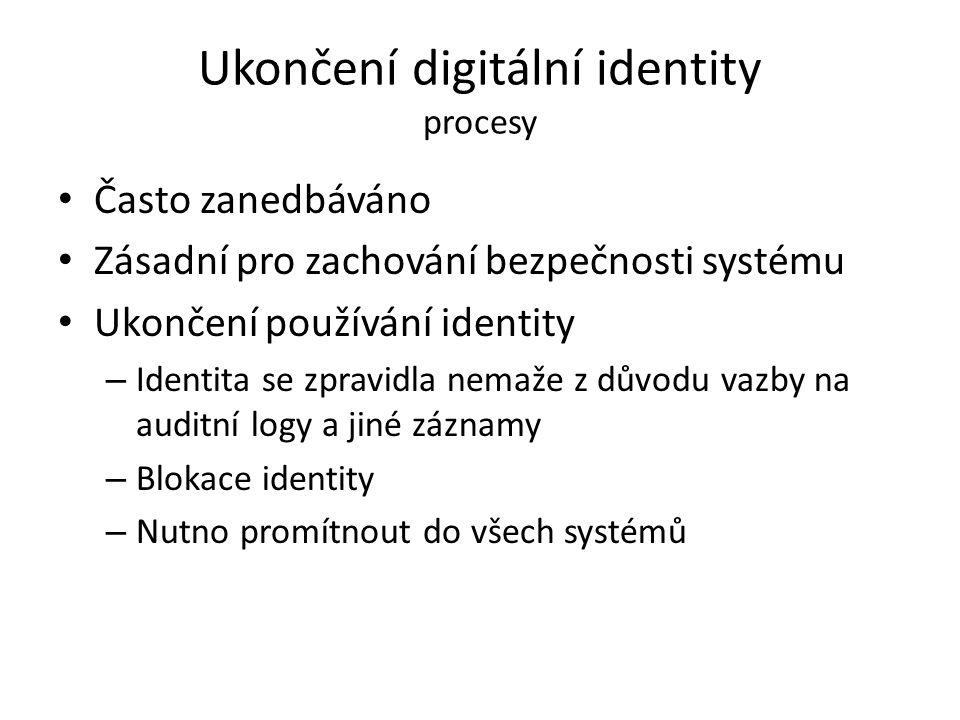 Ukončení digitální identity procesy Často zanedbáváno Zásadní pro zachování bezpečnosti systému Ukončení používání identity – Identita se zpravidla ne