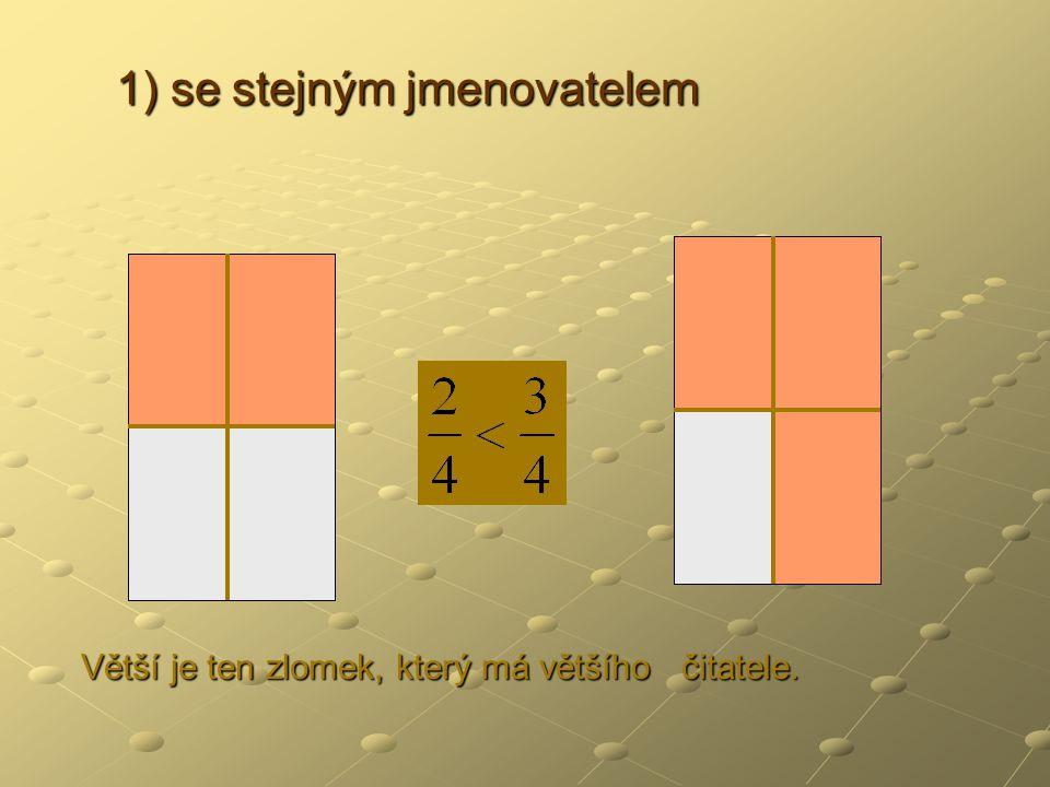 2) s rozdílným jmenovatelem 2) s rozdílným jmenovatelem Zlomek rozšíříme tak, aby měly oba zlomky stejné jmenovatele.