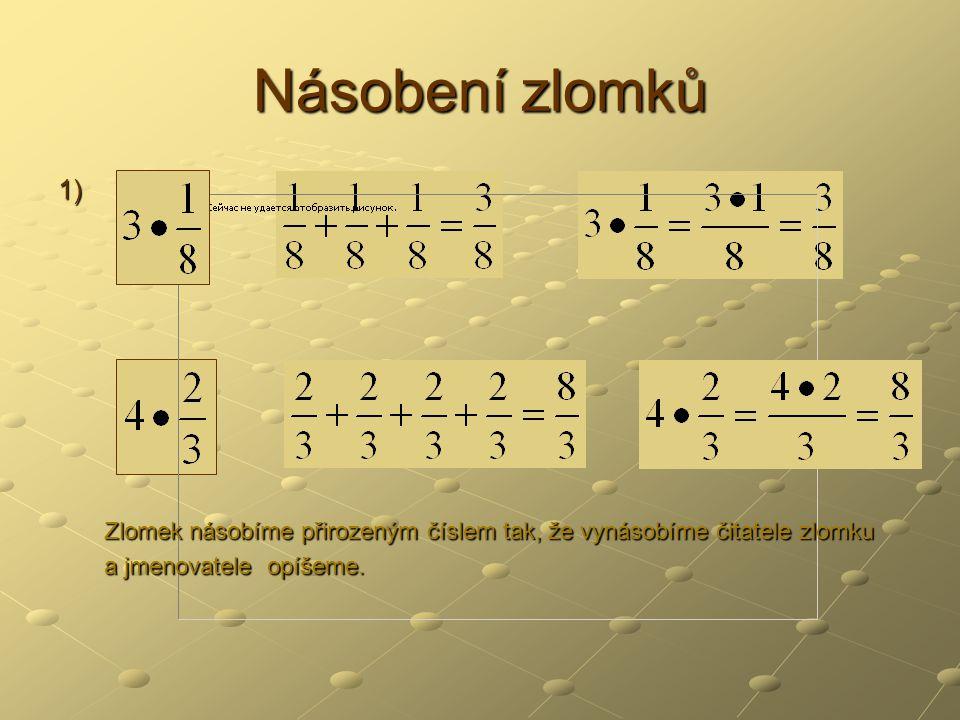 2) Násobení zlomku zlomkem Př.: Ze čtverce 1 m 2 vyřízněte obdélník o rozměrech: a Jaký obsah bude obdélník mít.