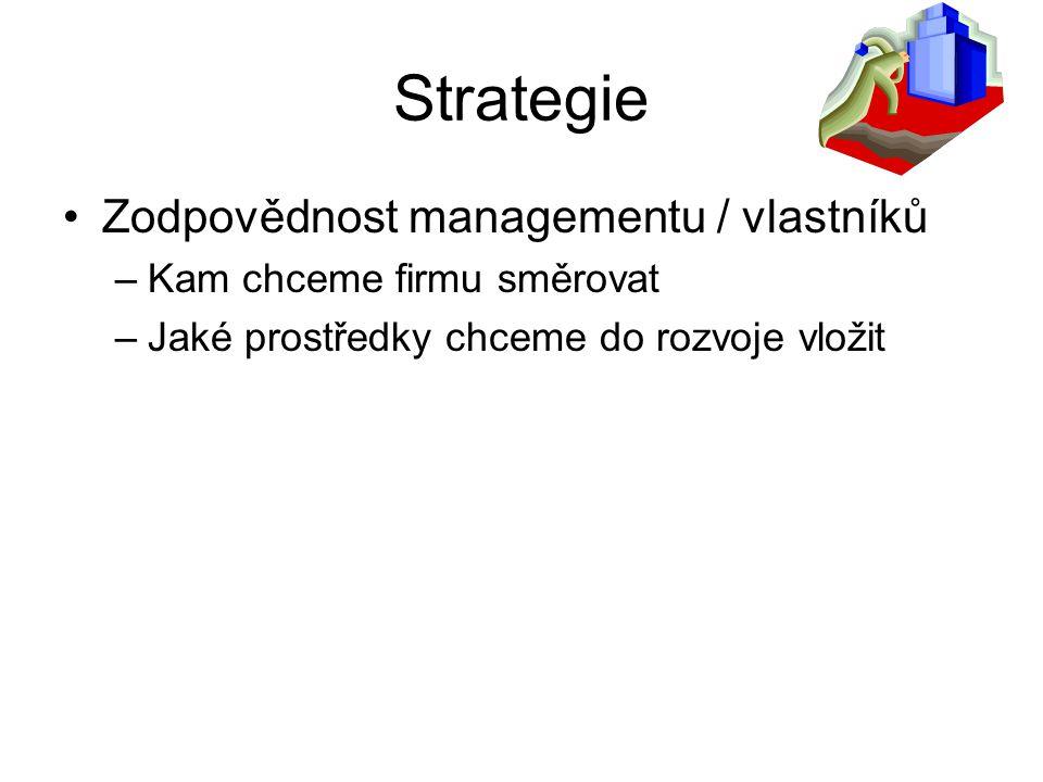 Strategie Zodpovědnost managementu / vlastníků –Kam chceme firmu směrovat –Jaké prostředky chceme do rozvoje vložit