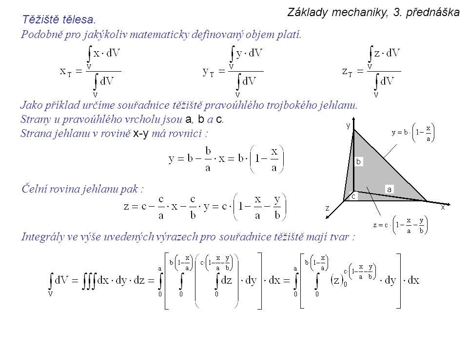 Základy mechaniky, 3. přednáška Těžiště tělesa. Podobně pro jakýkoliv matematicky definovaný objem platí. Jako příklad určíme souřadnice těžiště pravo
