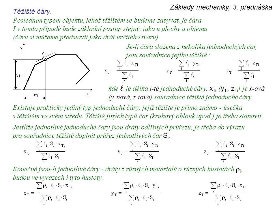 Základy mechaniky, 3. přednáška Těžiště čáry. Posledním typem objektu, jehož těžištěm se budeme zabývat, je čára. I v tomto případě bude základní post