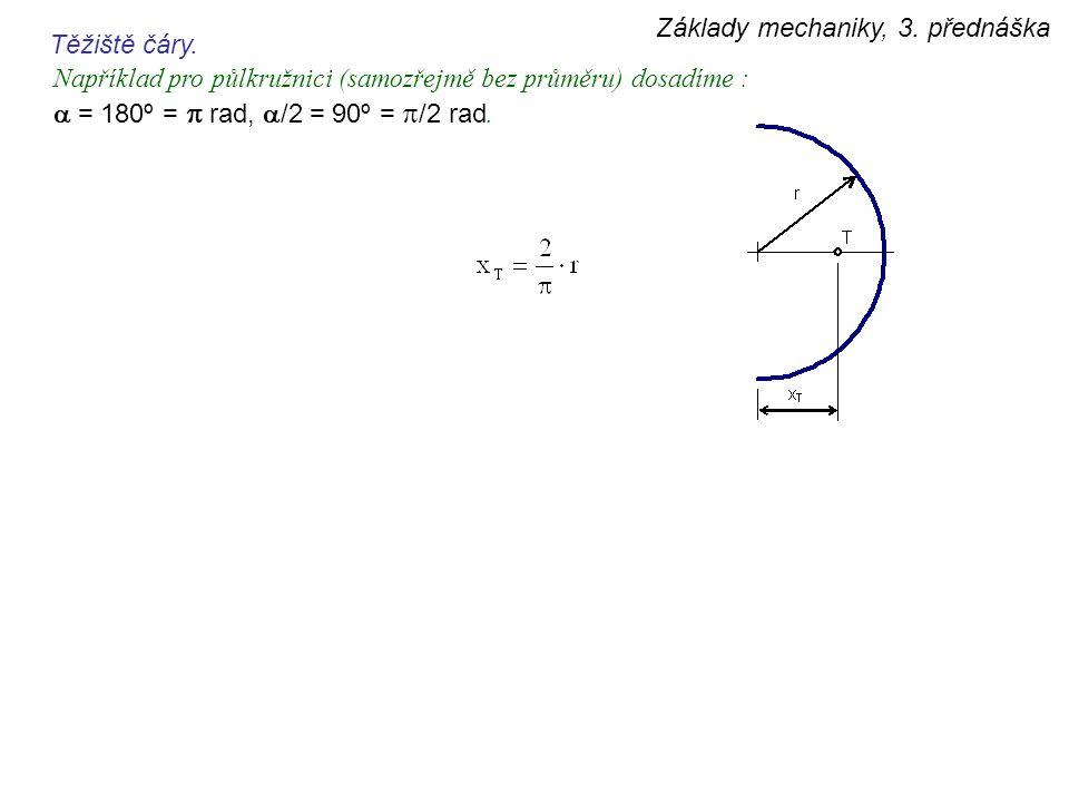 Základy mechaniky, 3. přednáška Těžiště čáry. Například pro půlkružnici (samozřejmě bez průměru) dosadíme :  = 180º =  rad,  /2 = 90º =  /2 rad.