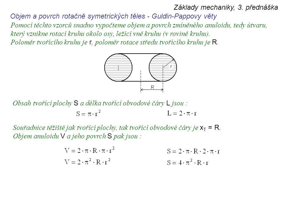 Základy mechaniky, 3. přednáška Objem a povrch rotačně symetrických těles - Guldin-Pappovy věty Pomocí těchto vzorců snadno vypočteme objem a povrch z