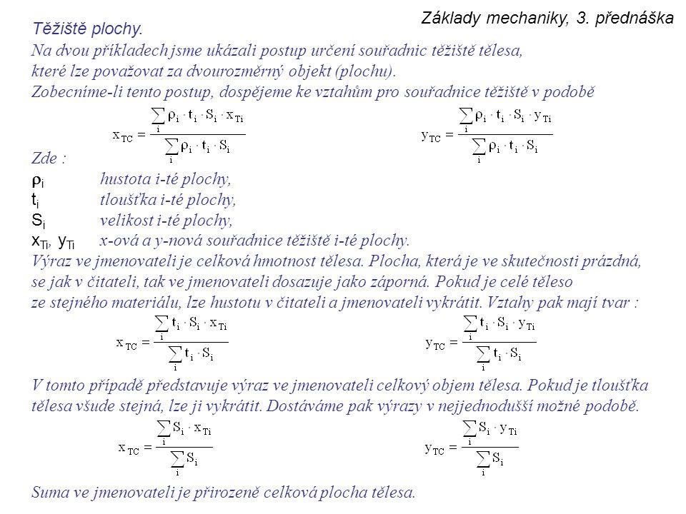Základy mechaniky, 3. přednáška Těžiště plochy. Na dvou příkladech jsme ukázali postup určení souřadnic těžiště tělesa, které lze považovat za dvouroz