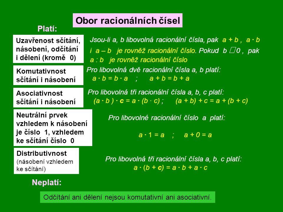 Ke každému nenulovému racionálnímu číslu a lze nalézt takové racionální číslo b, že platí: a · b = 1 Toto číslo nazýváme číslo převrácené k číslu a.