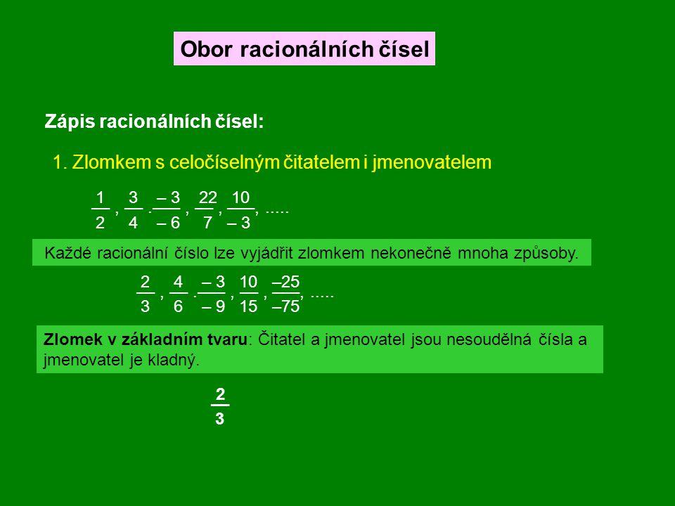 Zápis racionálních čísel: Obor racionálních čísel 1. Zlomkem s celočíselným čitatelem i jmenovatelem ––, ––.–––, ––, –––,..... 1 3 – 3 22 10 2 4 – 6 7