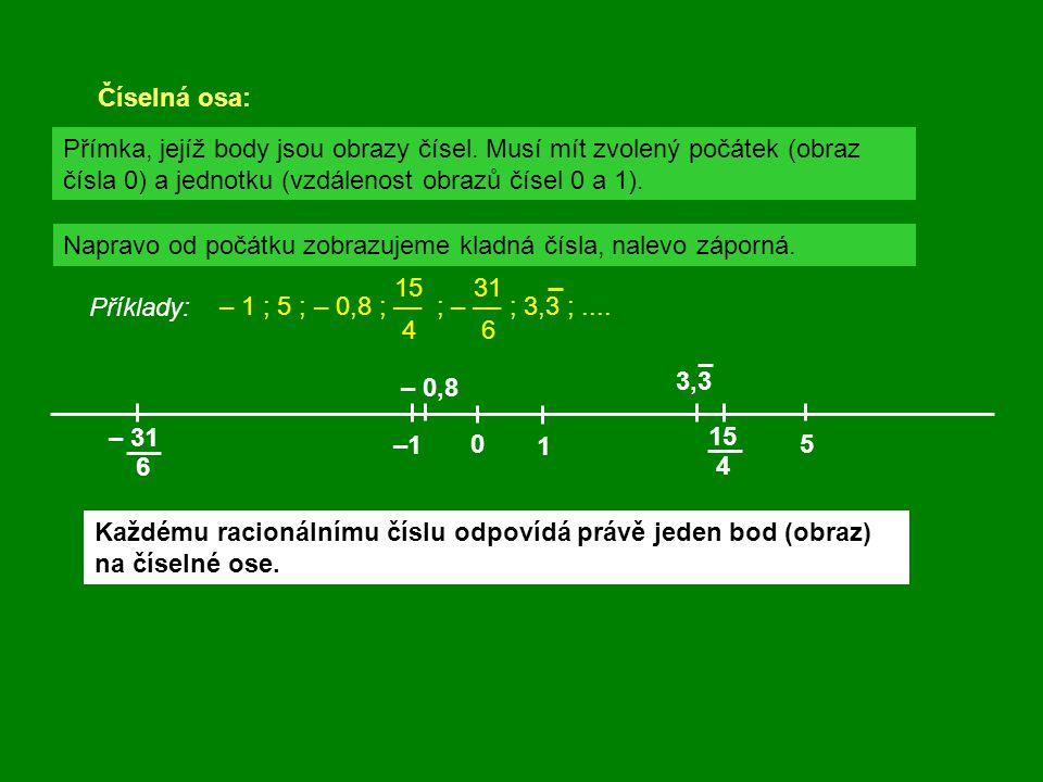 Číselná osa: 0 1 Přímka, jejíž body jsou obrazy čísel. Musí mít zvolený počátek (obraz čísla 0) a jednotku (vzdálenost obrazů čísel 0 a 1). Napravo od