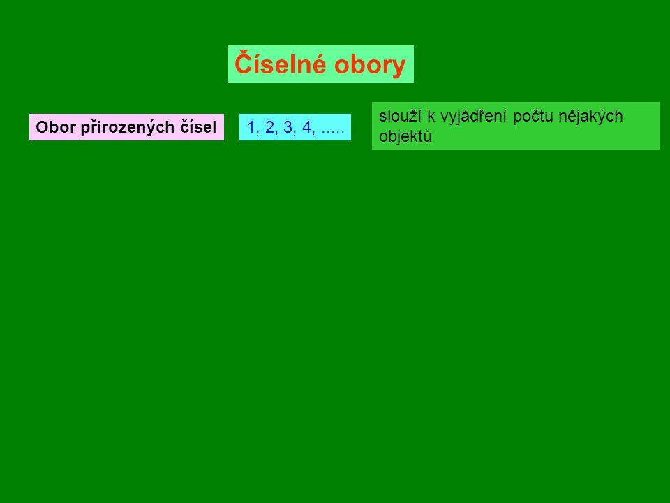 Obor přirozených čísel1, 2, 3, 4,..... slouží k vyjádření počtu nějakých objektů