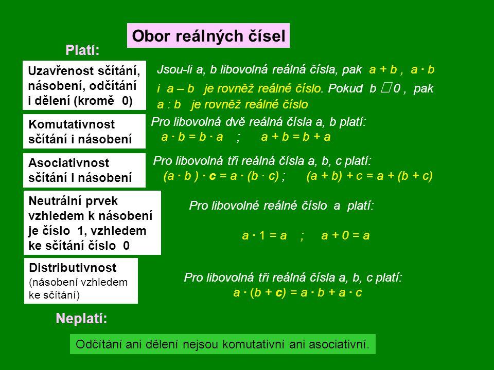 Neplatí: Uzavřenost sčítání, násobení, odčítání i dělení (kromě 0) Komutativnost sčítání i násobení Asociativnost sčítání i násobení Neutrální prvek v