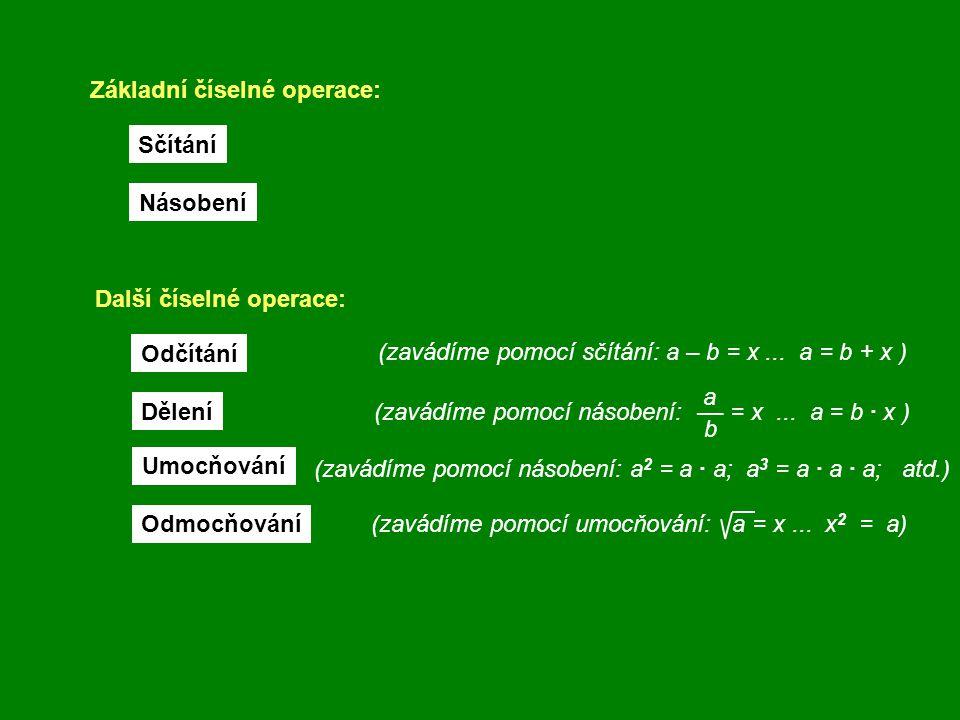 (zavádíme pomocí umocňování: a = x... x 2 = a) Základní číselné operace: Sčítání Násobení Další číselné operace: Odčítání Dělení Umocňování Odmocňován