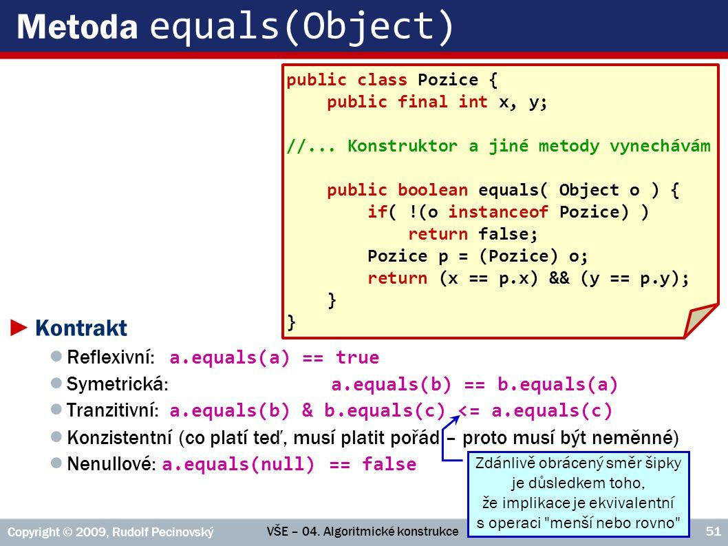 VŠE – 04. Algoritmické konstrukce Copyright © 2009, Rudolf Pecinovský 51 Metoda equals(Object) ►Kontrakt ● Reflexivní: a.equals(a) == true ● Symetrick