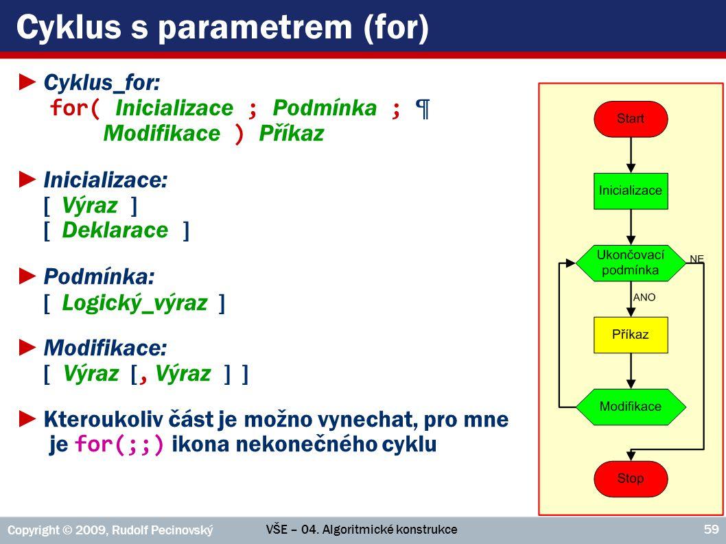 VŠE – 04. Algoritmické konstrukce Copyright © 2009, Rudolf Pecinovský 59 Cyklus s parametrem (for) ►Cyklus_for: for( Inicializace ; Podmínka ; ¶ Modif