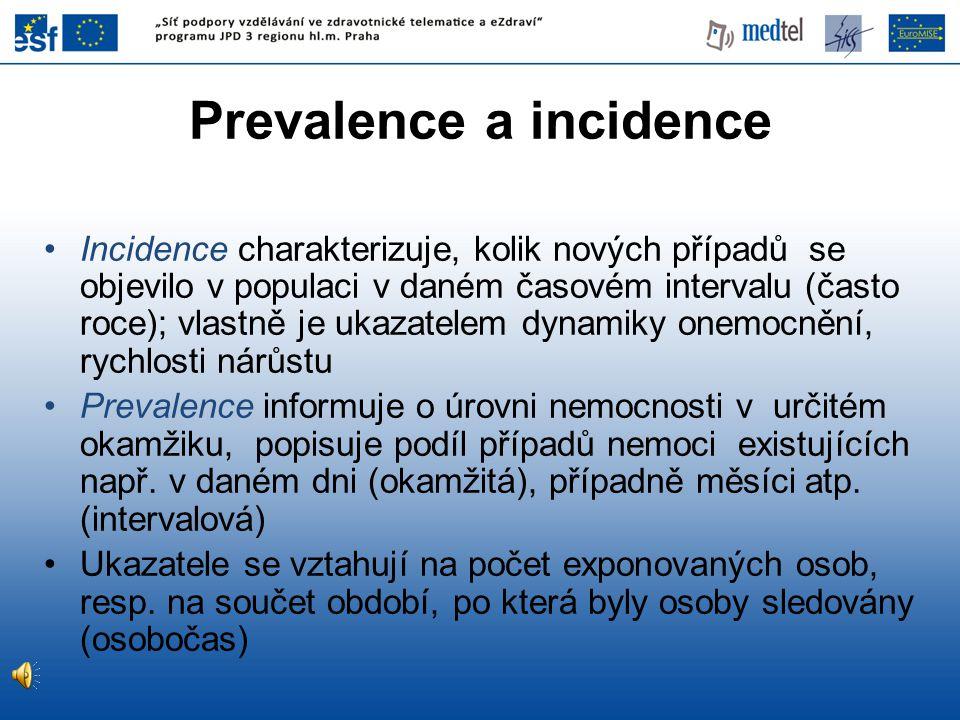 Incidence charakterizuje, kolik nových případů se objevilo v populaci v daném časovém intervalu (často roce); vlastně je ukazatelem dynamiky onemocněn