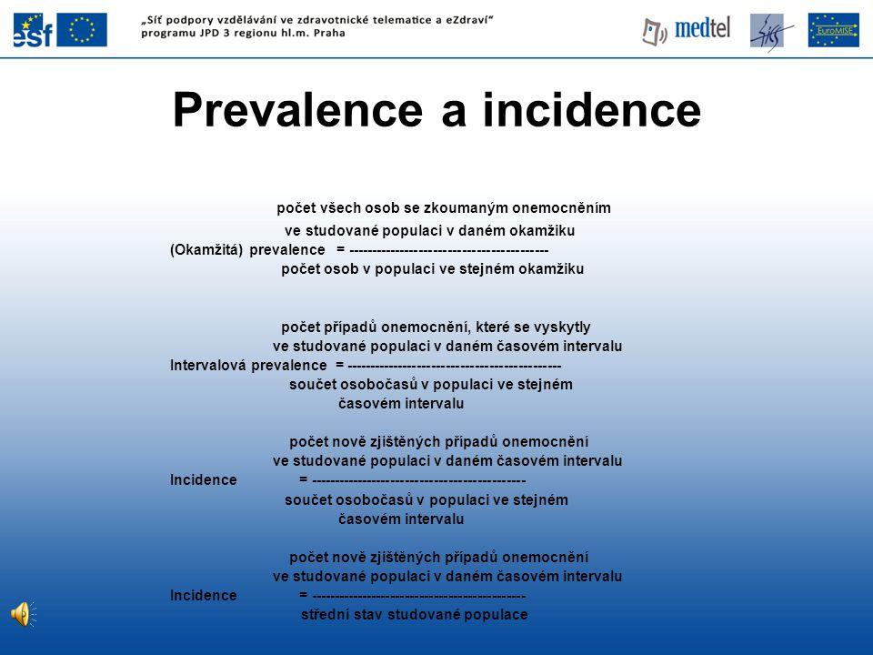 počet všech osob se zkoumaným onemocněním ve studované populaci v daném okamžiku (Okamžitá) prevalence = ------------------------------------------ po
