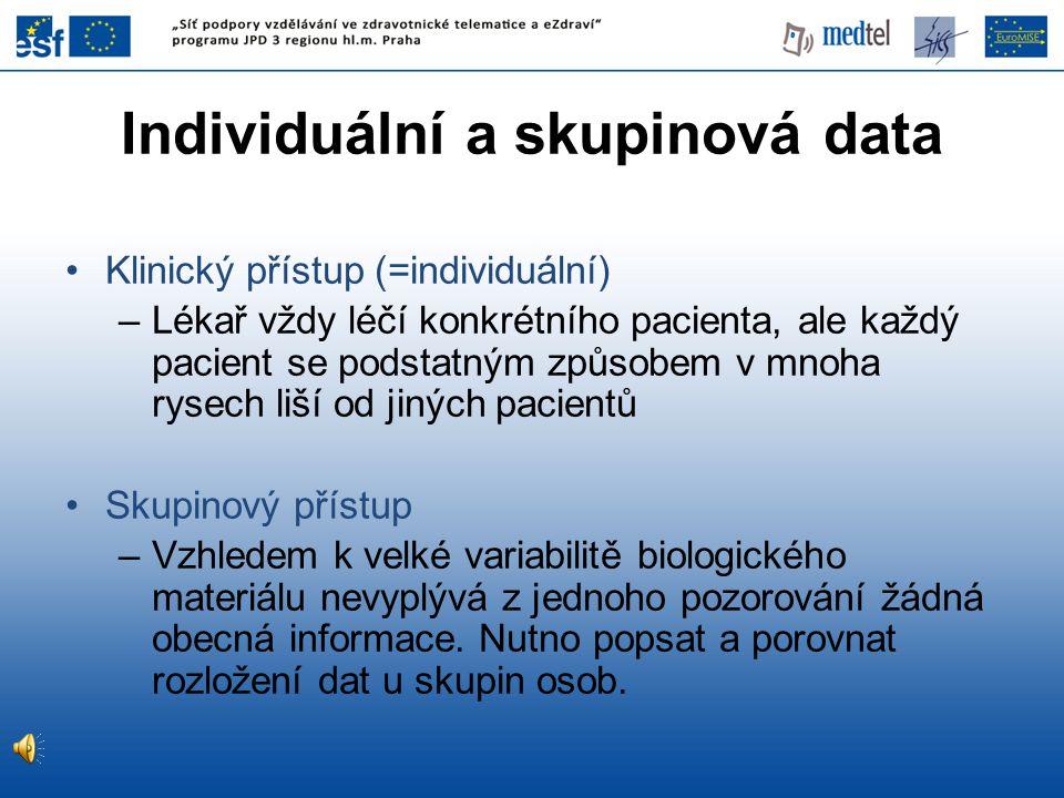 Individuální a skupinová data Klinický přístup (=individuální) –Lékař vždy léčí konkrétního pacienta, ale každý pacient se podstatným způsobem v mnoha