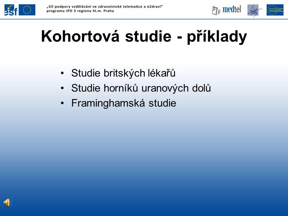 Studie britských lékařů Studie horníků uranových dolů Framinghamská studie Kohortová studie - příklady