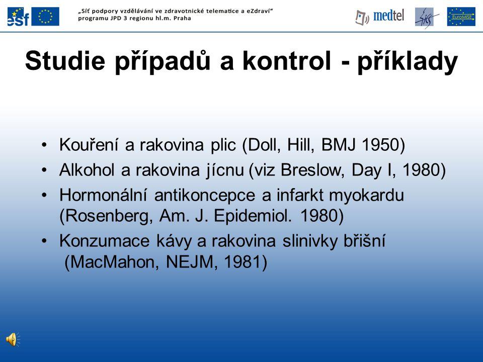 Kouření a rakovina plic (Doll, Hill, BMJ 1950) Alkohol a rakovina jícnu (viz Breslow, Day I, 1980) Hormonální antikoncepce a infarkt myokardu (Rosenbe