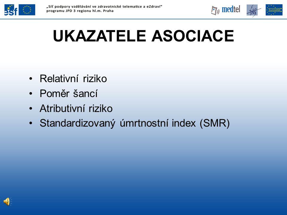 Relativní riziko Poměr šancí Atributivní riziko Standardizovaný úmrtnostní index (SMR) UKAZATELE ASOCIACE