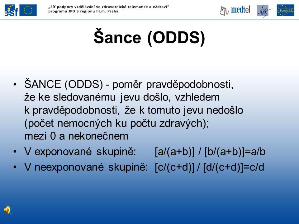 ŠANCE (ODDS) - poměr pravděpodobnosti, že ke sledovanému jevu došlo, vzhledem k pravděpodobnosti, že k tomuto jevu nedošlo (počet nemocných ku počtu z