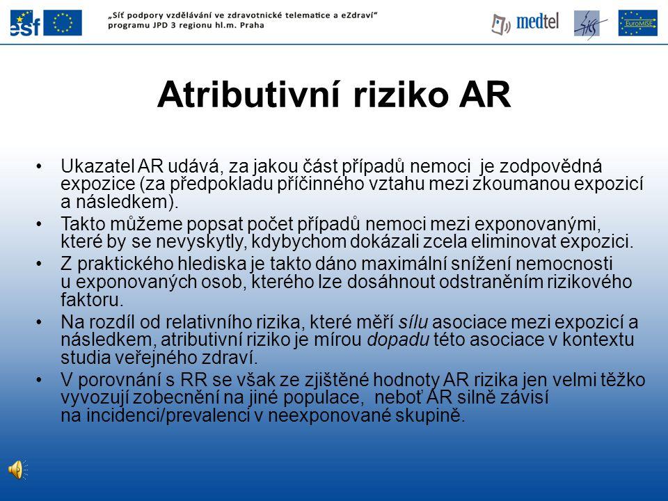 Ukazatel AR udává, za jakou část případů nemoci je zodpovědná expozice (za předpokladu příčinného vztahu mezi zkoumanou expozicí a následkem). Takto m