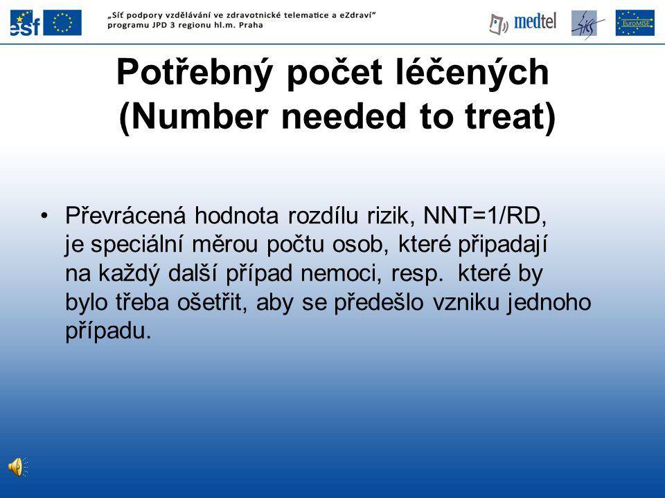 Převrácená hodnota rozdílu rizik, NNT=1/RD, je speciální měrou počtu osob, které připadají na každý další případ nemoci, resp. které by bylo třeba oše