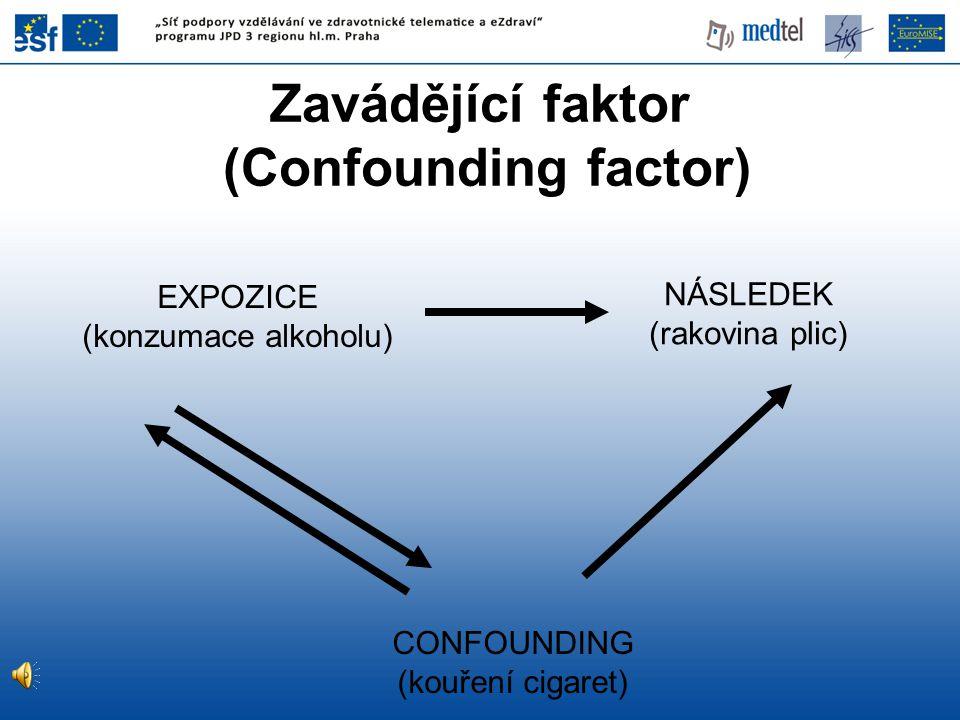 EXPOZICE (konzumace alkoholu) CONFOUNDING (kouření cigaret) NÁSLEDEK (rakovina plic) Zavádějící faktor (Confounding factor)