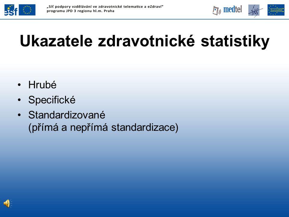 Hrubé Specifické Standardizované (přímá a nepřímá standardizace) Ukazatele zdravotnické statistiky