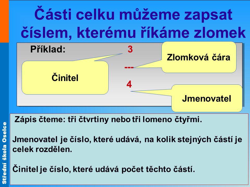 Střední škola Oselce Poznámka: Příklad: 3 --- = 3 : 4 4 Příklad: 3 --- = 3 : 4 4 Zlomek má ještě další význam: kromě částí celku představuje také dělení.
