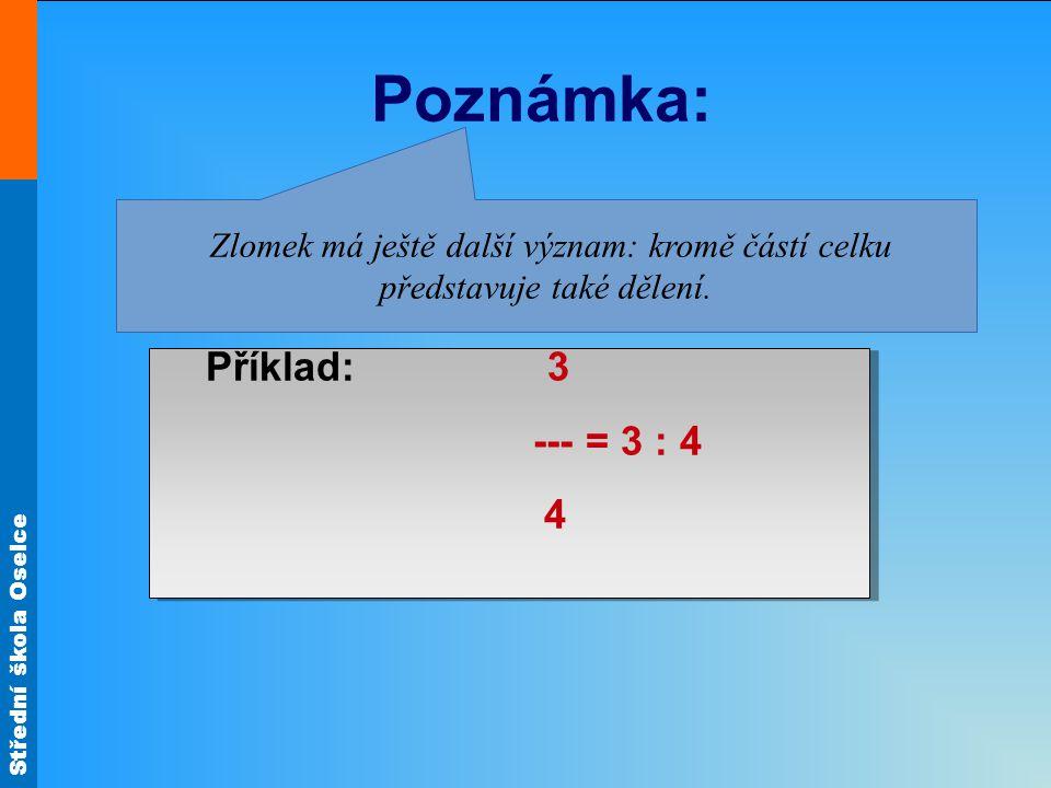 Střední škola Oselce Poznámka: Příklad: 3 --- = 3 : 4 4 Příklad: 3 --- = 3 : 4 4 Zlomek má ještě další význam: kromě částí celku představuje také děle
