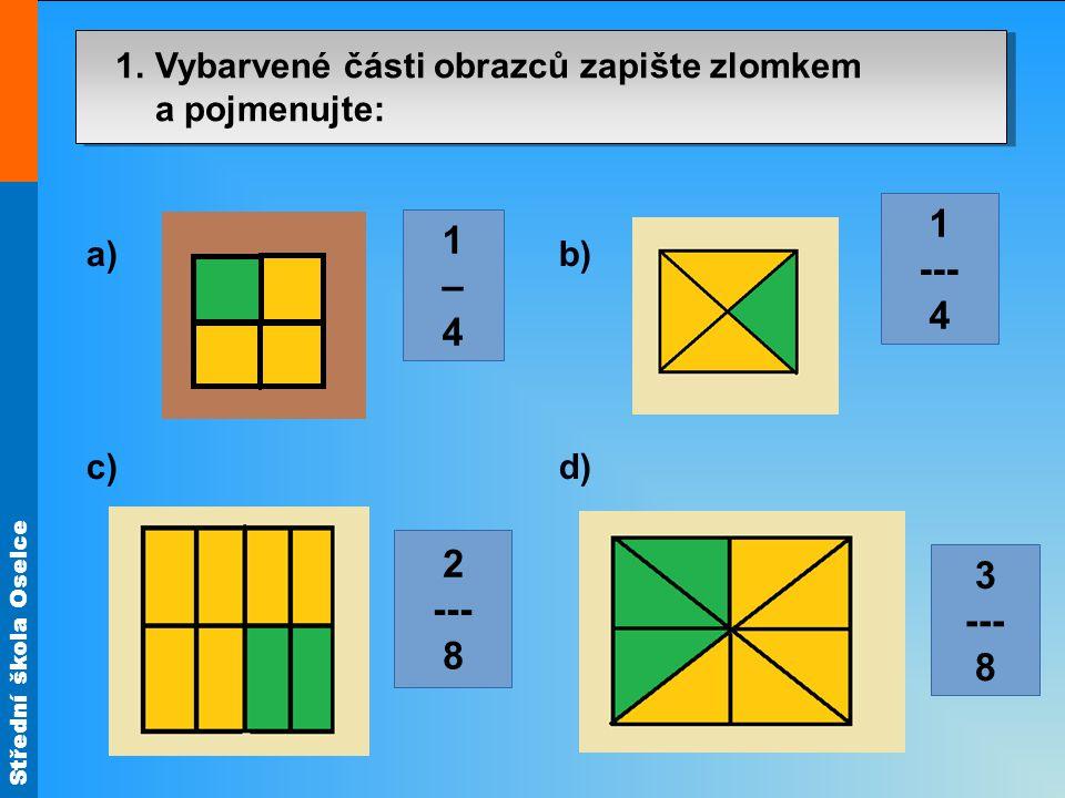 Střední škola Oselce 1. Vybarvené části obrazců zapište zlomkem a pojmenujte: a) b) c) d) 1–41–4 2 --- 8 1 --- 4 3 --- 8