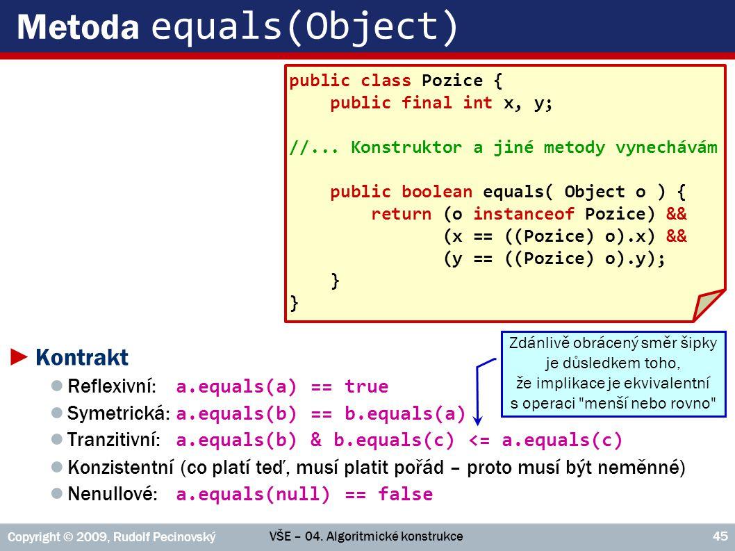 VŠE – 04. Algoritmické konstrukce Copyright © 2009, Rudolf Pecinovský 45 Metoda equals(Object) ►Kontrakt ● Reflexivní: a.equals(a) == true ● Symetrick