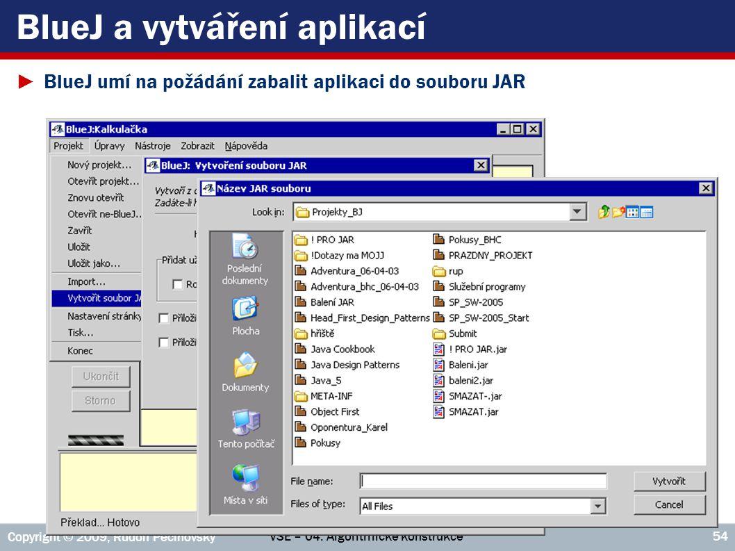 VŠE – 04. Algoritmické konstrukce Copyright © 2009, Rudolf Pecinovský 54 BlueJ a vytváření aplikací ►BlueJ umí na požádání zabalit aplikaci do souboru