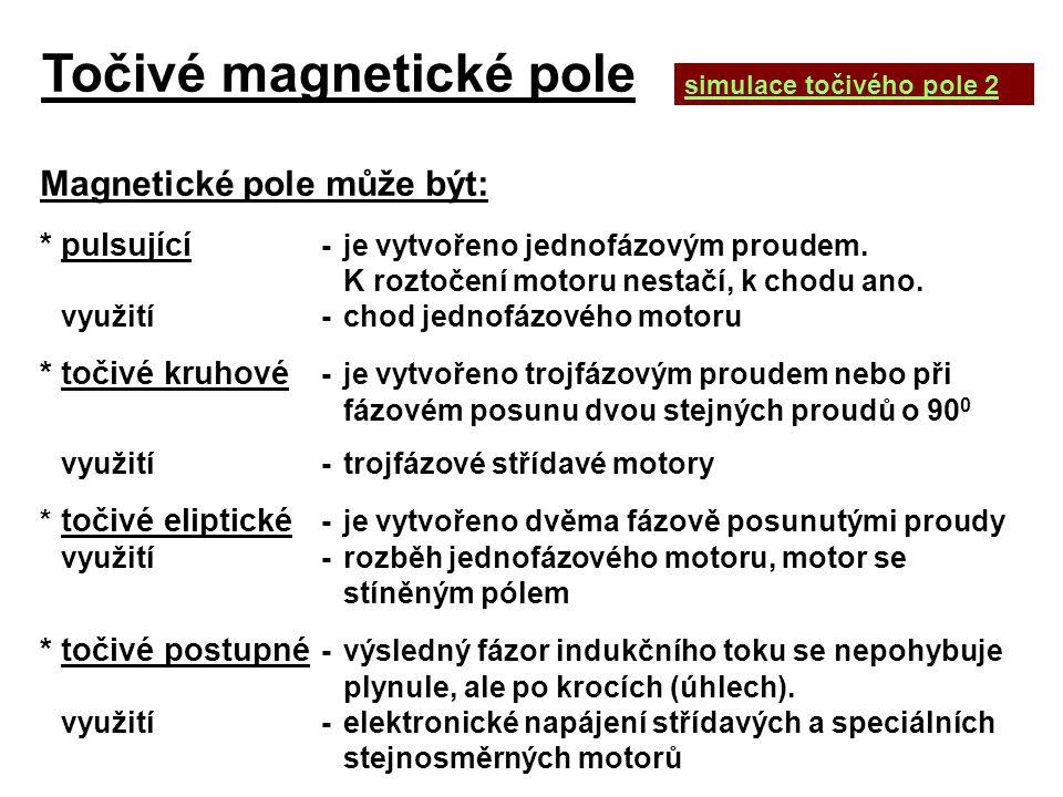 Točivé magnetické pole Magnetické pole může být: *pulsující -je vytvořeno jednofázovým proudem. K roztočení motoru nestačí, k chodu ano. využití-chod