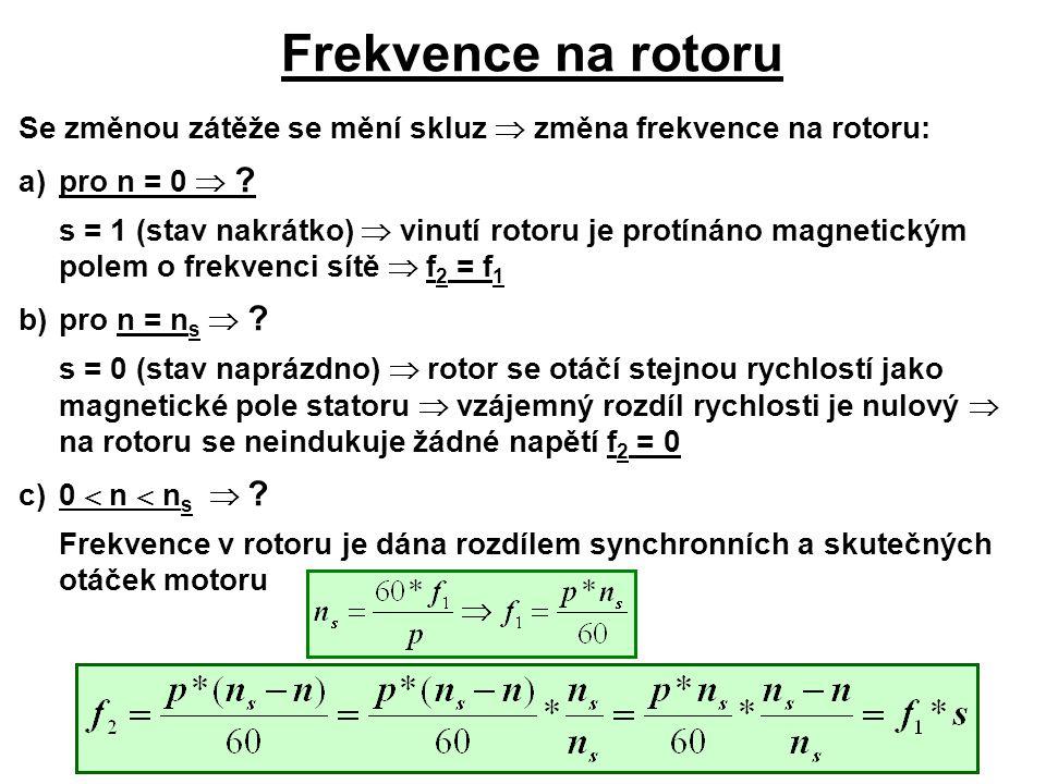 Frekvence na rotoru Se změnou zátěže se mění skluz  změna frekvence na rotoru: a)pro n = 0  ? s = 1 (stav nakrátko)  vinutí rotoru je protínáno mag