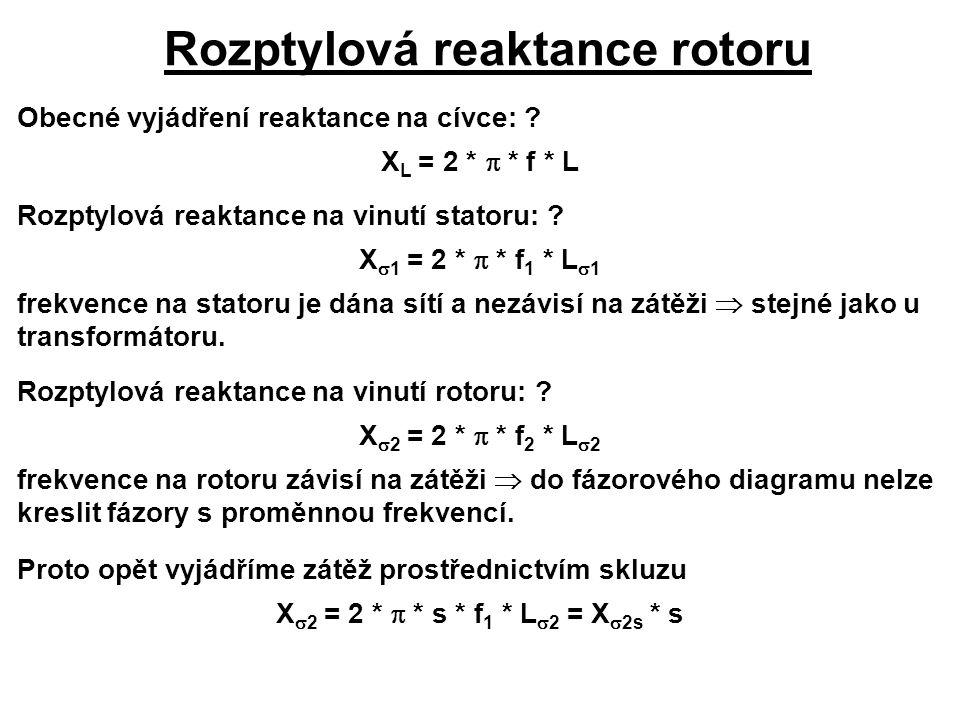 Rozptylová reaktance rotoru Obecné vyjádření reaktance na cívce: ? X L = 2 *  * f * L Rozptylová reaktance na vinutí statoru: ? X  1 = 2 *  * f 1 *