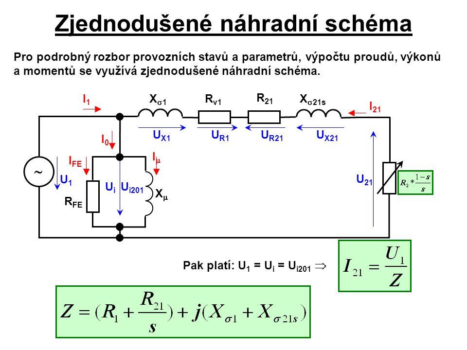 Zjednodušené náhradní schéma Pro podrobný rozbor provozních stavů a parametrů, výpočtu proudů, výkonů a momentů se využívá zjednodušené náhradní schém