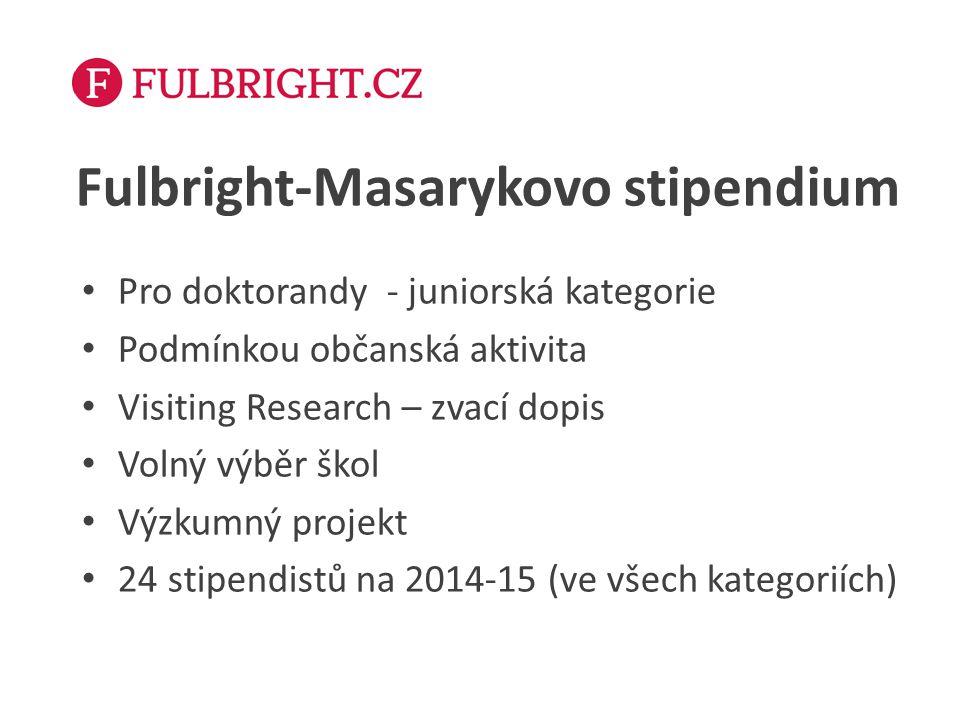 Fulbright-Masarykovo stipendium Pro doktorandy - juniorská kategorie Podmínkou občanská aktivita Visiting Research – zvací dopis Volný výběr škol Výzk