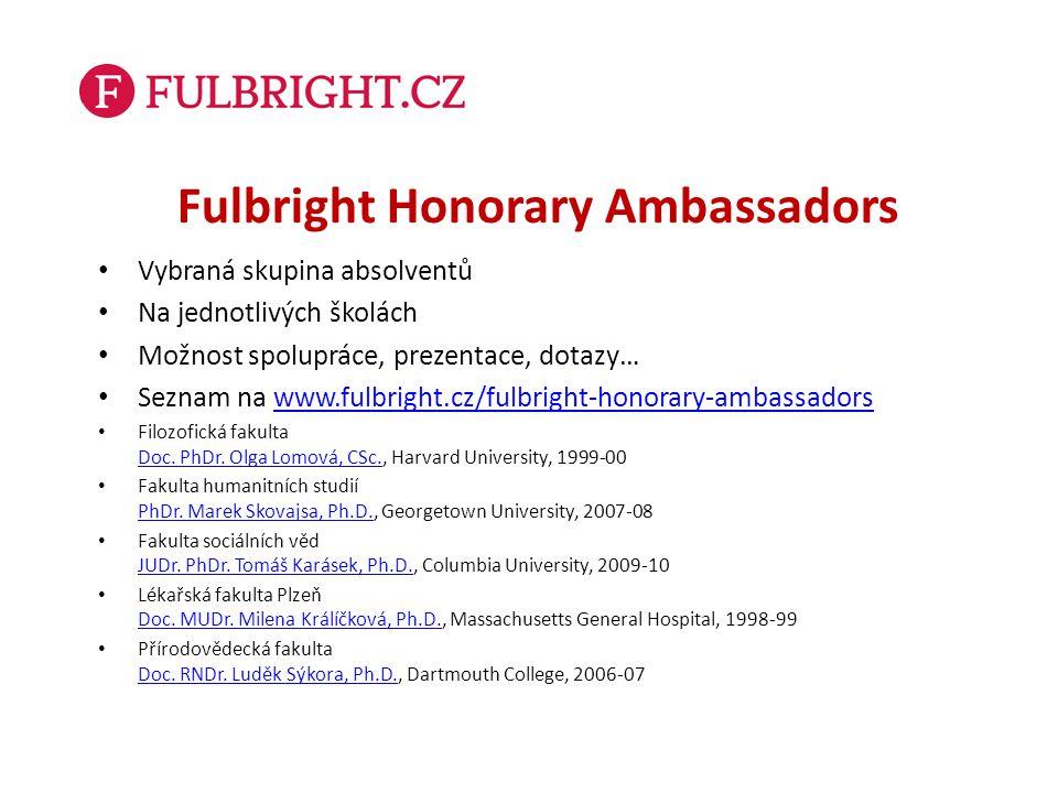 Fulbright Honorary Ambassadors Vybraná skupina absolventů Na jednotlivých školách Možnost spolupráce, prezentace, dotazy… Seznam na www.fulbright.cz/f