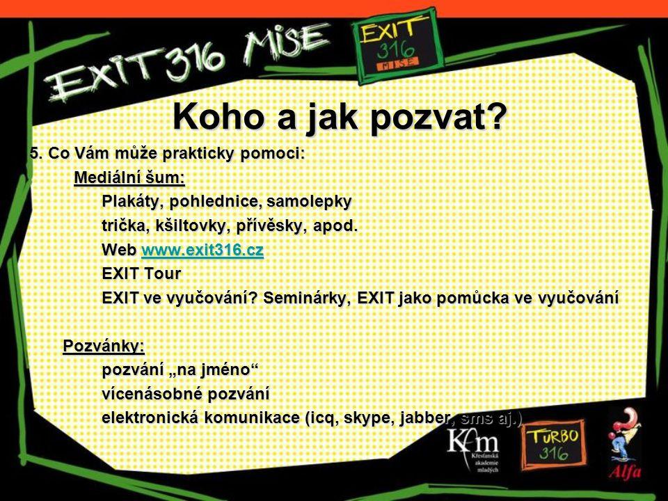 Koho a jak pozvat? 5. Co Vám může prakticky pomoci: Mediální šum: Plakáty, pohlednice, samolepky trička, kšiltovky, přívěsky, apod. Web www.exit316.cz